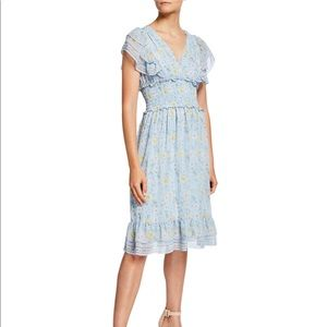 Max Studio Blue Floral Smocked Waist Ruffle Dress
